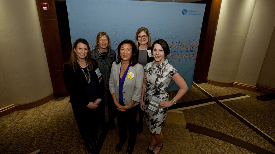 Legal and psychology experts at the State Leadership Conference discussed the full inclusion of psychologists and interns in state Medicaid programs. Left to right: Stacey Larson, PsyD, JD; Catherine Grus, PhD; Shirley Ann Higuchi, JD; Caroline Bergner, JD; and Lindsey Buckman, PsyD.