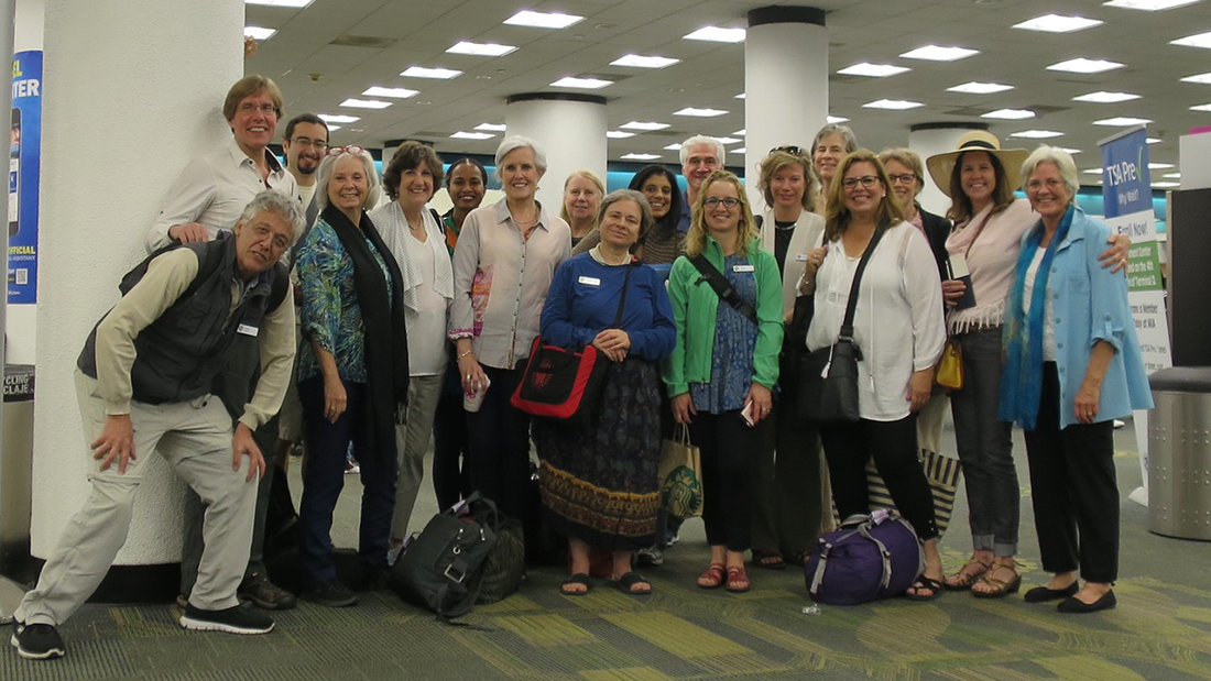 Eighteen U.S. psychologists, part of APA's International Learning Partner Program, gather before trip to Cuba in May 2016.