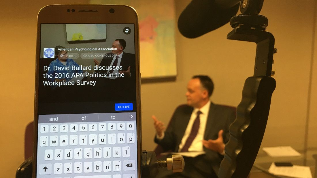 David Ballard, PhD, discusses the results of the Politics in the Workplace survey for a Facebook Live broadcast with APA Public Affairs
