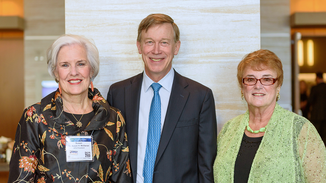 Susan McDaniel, PhD (left), Colorado Governor John Hickenlooper, and Cynthia Belar, PhD, at the Council of Representatives meeting at the APA convention