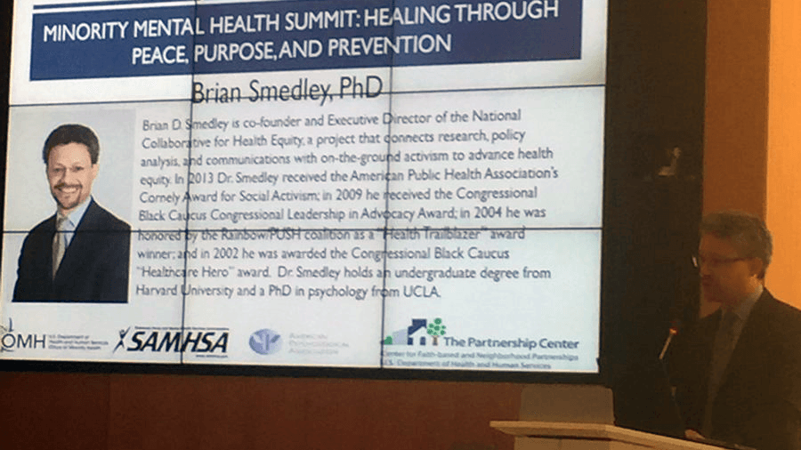 Brian Smedley, PhD, at summit