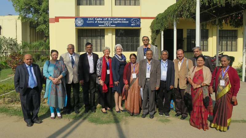 Merry Bullock, PhD, and Susan McDaniel, PhD (fifth and sixth from left, respectively) at UGC Centre of Excellence in Allahabad, India.