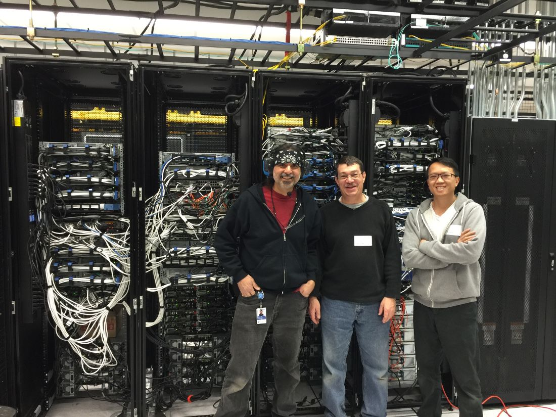 In January 2016, APA moved its data center to a local facility that provides increased network efficiency, reliability and security. Shown in the new data center are (from left) Taco Flores, APA's systems services manager, and systems engineers Wayne Brown and Nguyen Hoang.