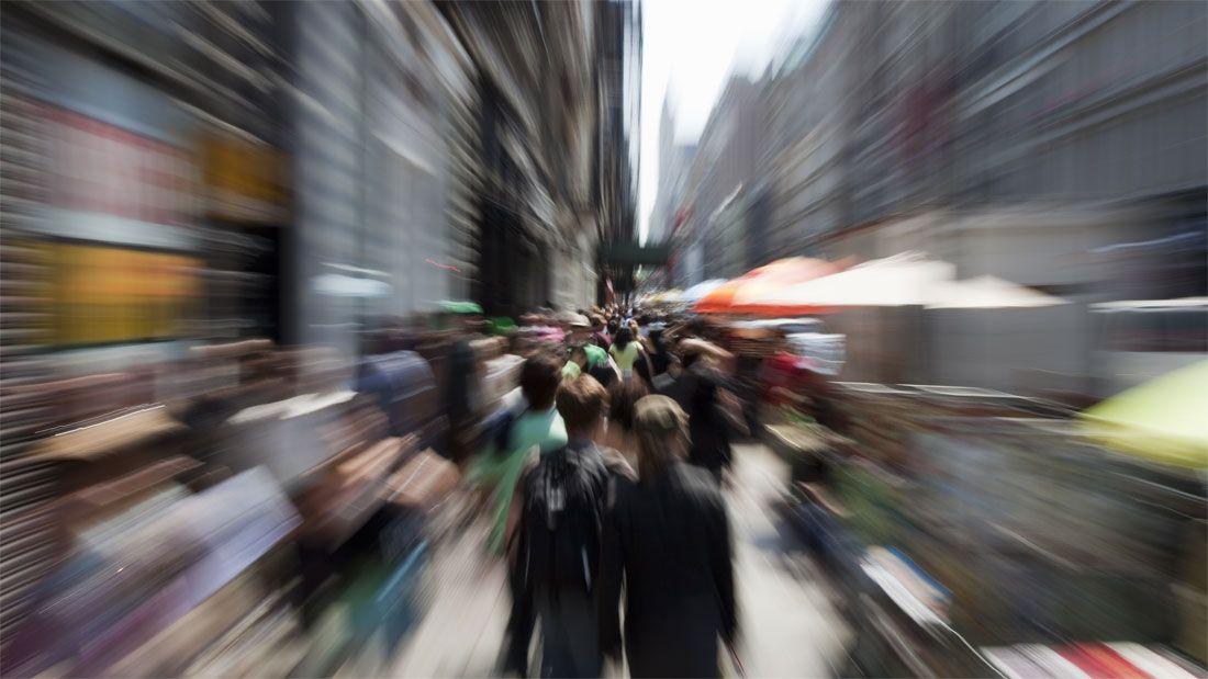 people on street blurry