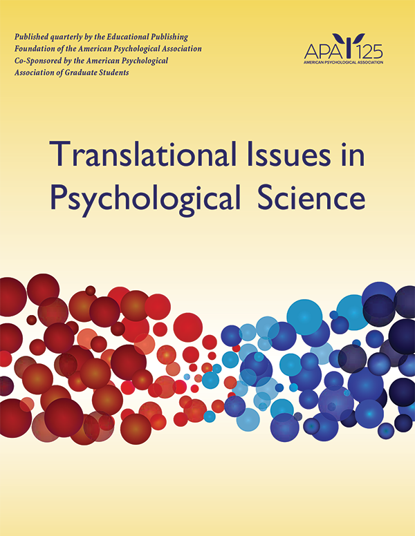 Translational Issues in Psychological Science cover